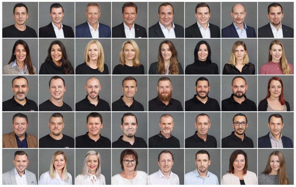 Collage von Mitarbeiterportraits